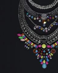 Viva La Vida Layered Statement Necklace In Silver & Multicolour – 1