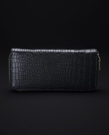 Prisma Faux Croc Skin Wallet In Black