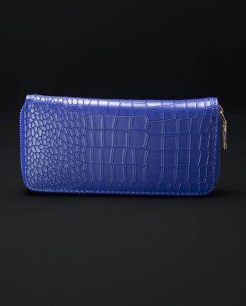 Prisma Faux Croc Skin Wallet In Blue