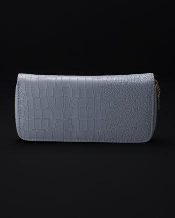 Prisma Faux Croc Skin Wallet In Grey